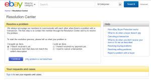 Ebays webbsida för tvistelösningar.