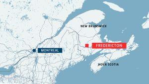 Karta över Kanada där en skottlossning ägt rum i staden Fredericton.