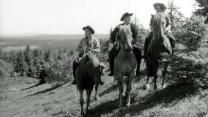 Taneli Rinne, Åke Lindman ja Tommi Rinne elokuvassa Villin Pohjolan salattu laakso (1963).