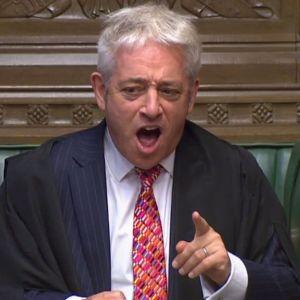 Underhusets talman John Bercow under debatten i parlamentet 25.9.2019