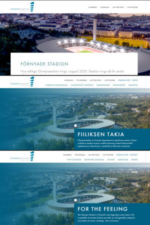 Skrämdumpar på Olympiastadions finska, engelska och svenska webbsidor. Den svenska ser väldigt annorlunda ut än de två andra.