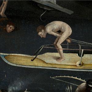 Mies luistelee jättiläisluistimella. Yksityiskohta Boschin teoksesta Maallisten ilojen puutarha