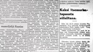 Uutinen itsemurhasta: kauppias Arvid Leonard Lindh.
