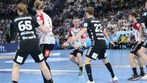 Jac Karlsson i Holstebros EHF-cupsemifinal mot THW Kiel våren 2019.