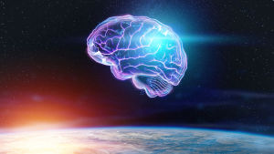 En konstnärlig vision av en hjärna svävande i rymden.