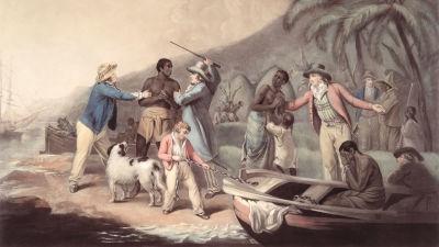 En målning som föreställer hur vita slavägare slår en svart slav.