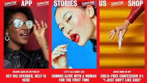 En skärmdump från Supershes webbplats senhösten 2019. Knallröd bakgrund, bilder på kvinnoansikten, ett graviditetstest. Texten Supershe shop, app, stories.