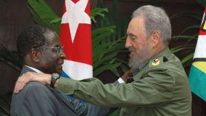 Presidenterna Robert Mugabe och Fidel Castro hälsar på varandra 12 september 2005 under Mugabes Kubabesök.
