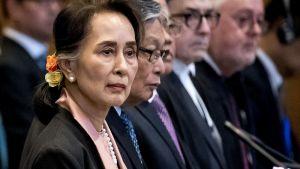 Aung San Suu Kyi vid rättegången i Haag 10.12.2019