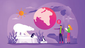 Illustration som beskriver klimatförändringen, med planeten, en isbjörn, två människor som diskuterar, solen och två skorstenar.