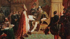 R.W. Ekman: Mikael Agricola överlämnar den första finska bibelöversättningen till Gustav Vasa (fresk i Åbo domkyrka 1849-54)