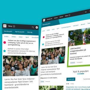 Skärmdumpar av svenska.yle.fi på mobil, tablet och desktop