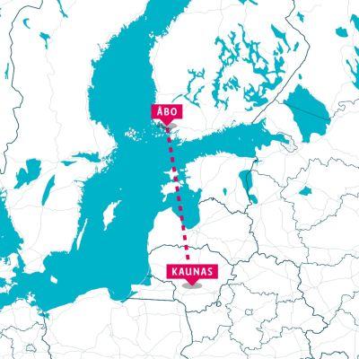 En karta som visar en streckad från Åbo till Kaunas i Litauen.