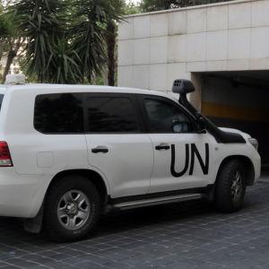 OPCW:s utredare anländer till Damaskus den 14.4.2018.