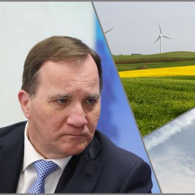 tredelad bild med Stefan Löfven, svensk vindkraft och Jas gripen.