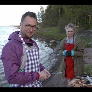 Toimittaja Kimmo Porttila ja Merituuli Väntsi