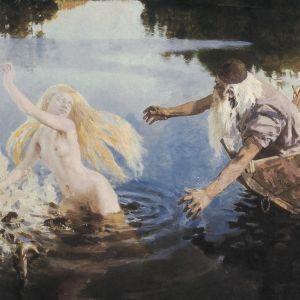 """Akseli Gallen-Kallelan Kalevala-kuvitusta. """"Aino-taru"""", triptyykki. Öljyvärimaalaus (maalaus): Akseli Gallen-Kallela, 1891. Triptyykin keskimmäinen osa."""