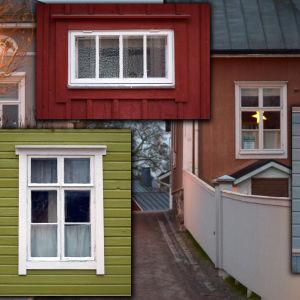 Bildcollage av flera olika fönster i trähus.