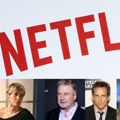 Bildcollage av Netflix logo och flera stora skådespelare.