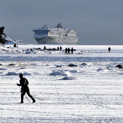 En skidare i soligt vinterväder på isen utanför Helsingfors.