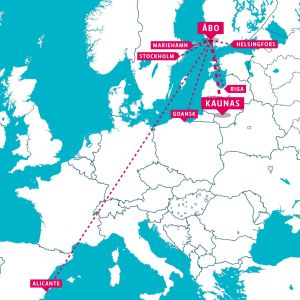 En karta som visar streckade linjer dit det går att flyga från Åbo.