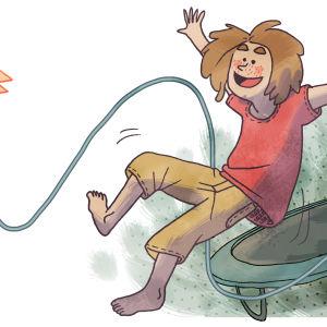 Lapsi hyppii trampoliinilla tuottaen pomppusähköä.