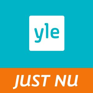 Yle-logo på turkos bakgrund med texten just nu