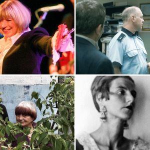 Kollaasi Teeman Rakkautta & Anarkiaa -elokuvista syksyllä 2018: Faithfull, Valmistujaiset, Peggy Guggenheim - taiteen rakastaja, Kasvot, kylät