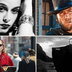 Kollaasi Teeman kevään 2019 elokuvista: Hedy Lamarr, Vain muutaman dollarin tähden, Seitsemäs sinetti, Carol