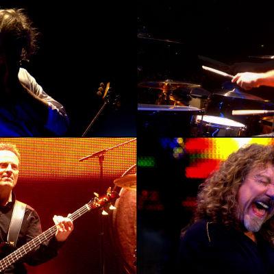 Led Zeppelin konsertissa Lontoossa 2007: vasemmalta ylhäältä myötäpäivään Jimmy Page, Jason Bonham, Robert Plant, John Paul Jones