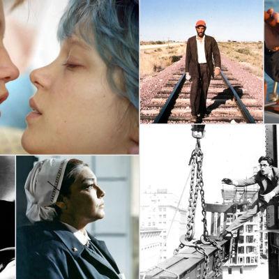Kollaasi Teeman kesän 2016 elokuvista: Adelen elämä, Paris Texas, All Is Lost, Rakennustyömaa, Tuntemattomat sankarit, Kissaihmiset