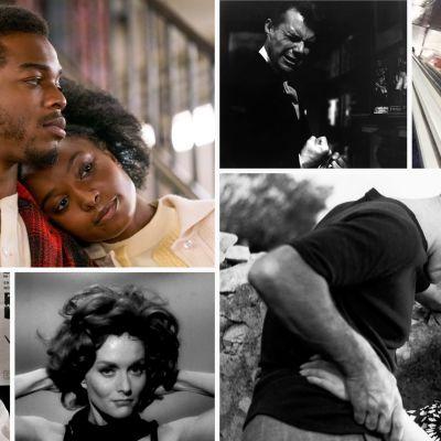Kollaasi Teeman kesän 2021 elokuvista: ylhäältä vasemmalta myötäpäivään Jos tämä katu osaisi puhua, Uhattu, Salattu rakkaus, Marseille-trilogia, Alaston suudelma, Kiinatar