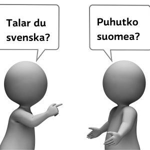 Två figurer samtalar med varandra.
