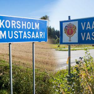 Vägskyltar för Vasa och Korsholm.