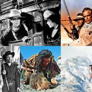 Kuvia Teeman kesän 2019 lännnenfilmeistä: Hyökkäys erämaassa, Missouri, Portti ikuisuuteen, Revolverimies, Kosto odottaa, Vera Cruz