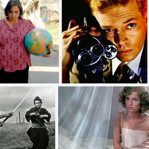 Kollaasi Teeman syksyn 2020 elokuvista, vasemmalta ylhäältä myötäpäivään: Celeste Garcian avaruusmatka, Pelon kasvot, Call Me by Your Name, Whiplash, Auringonpimennys, Harakiri