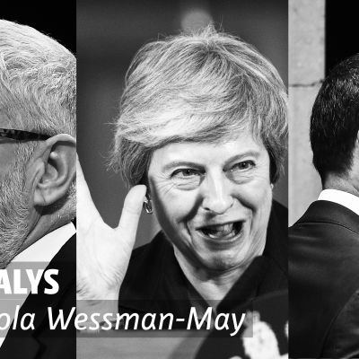 Ett collage, från vänster Jeremy Corbyn, Theresa May, Dominic Raab.