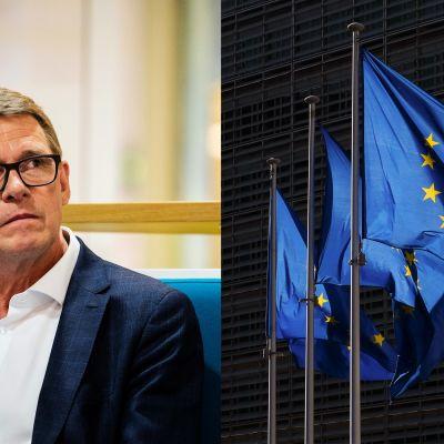 Matti Vanhanen och Europeiska unionens flaggor