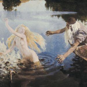 Den mittersta delen av Aino-triptyken av Akseli Gallén Kallela. Väinämöinen jagar Aino i vattnet.