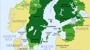 Historisk karta på Sverige.