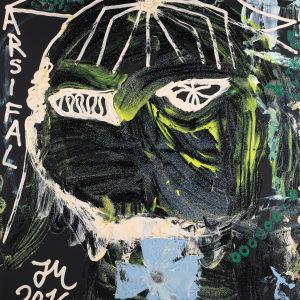 Jonathan Meese är ofta själv motivet i sina målningar. Målningen är från 2016.