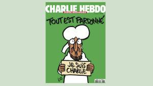 Profeten Mohammed på Charlie Hedbos första sida.