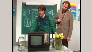 Leif Jakobsson och Kalle Sahlgren  den första april i Söndagsöppet, 1984