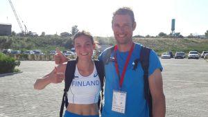 Alina Strömberg och Mikael Westö, U18-EM 2016.