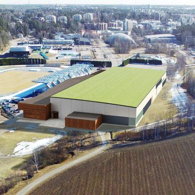 Arkitektbild över ny idrottshall i Alberga, bakom hallen syns nuvarande stadion och simhall.