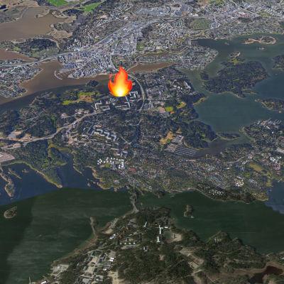 En satellitbild på ön Degerö i Helsingfors.