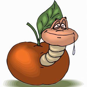Tecknad bild på en mask som sticker ut sitt huvud från ett äppel.