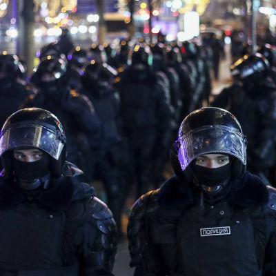 Demonstrationer i Moskva den 2 februari 2021 efter fängelsedom mot Aleksej Navalnyj.