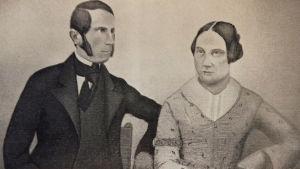 Johanna von Schoultz miehensä maanmittari Felix Brandin kanssa.