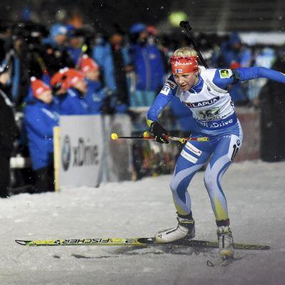Kaisa Mäkäräinen visade fin form i mixed stafetten.